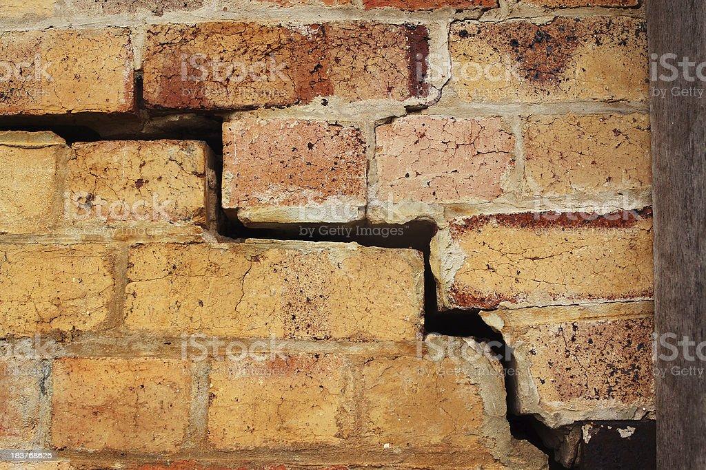 Crumbling Brick Wall royalty-free stock photo