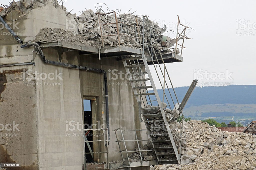Crumbling Down the Stairs stock photo