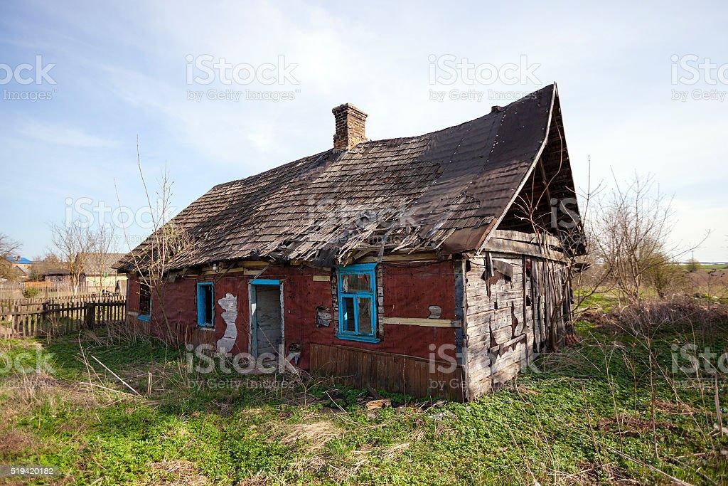 crumbling farmhouse  . Belarus. stock photo
