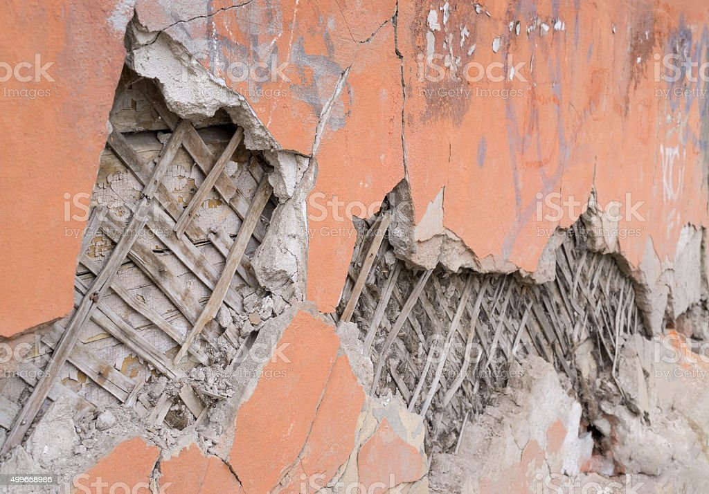 Crumbling plastered wall stock photo