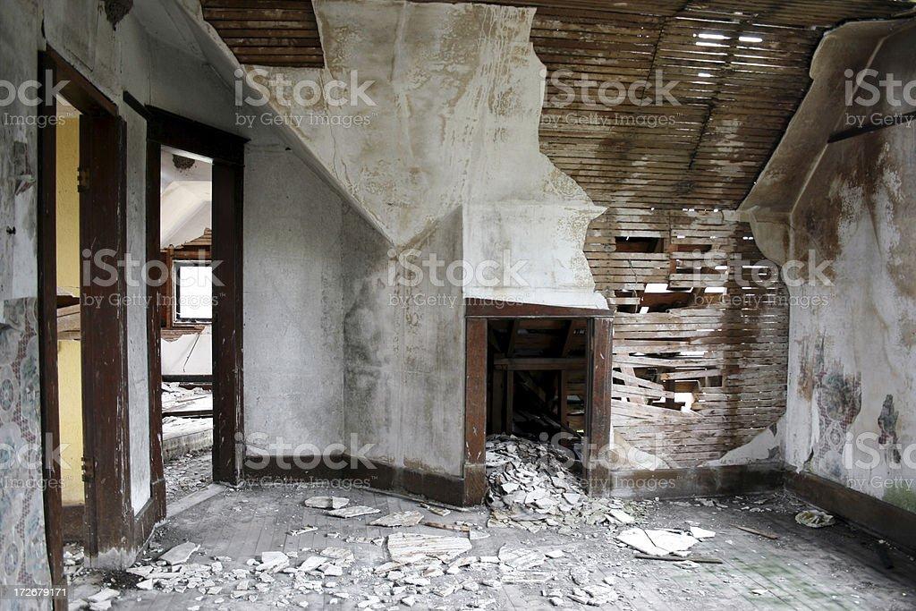 Crumbling water damaged sheetrock Interior background royalty-free stock photo
