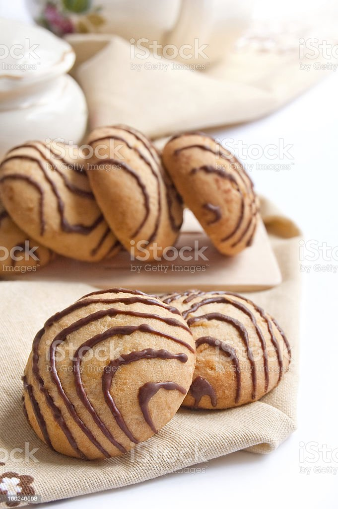 Crumbly cookies with chocolate stripes royalty-free stock photo
