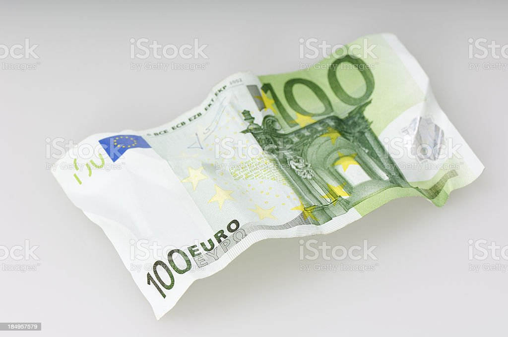 Crumpled 100 Euro bill royalty-free stock photo