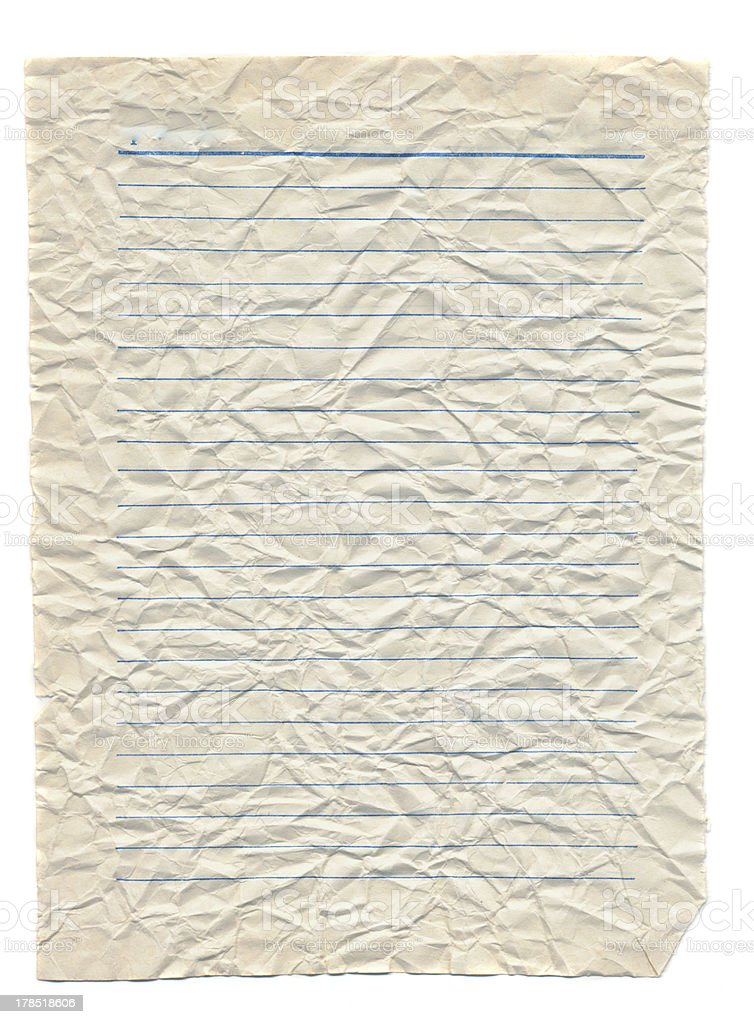 crumpled and empty notebook paper page isolated royalty-free stock photo