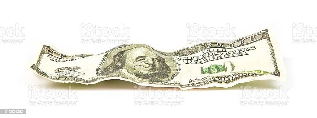 Crumpled banknote of dollar stock photo
