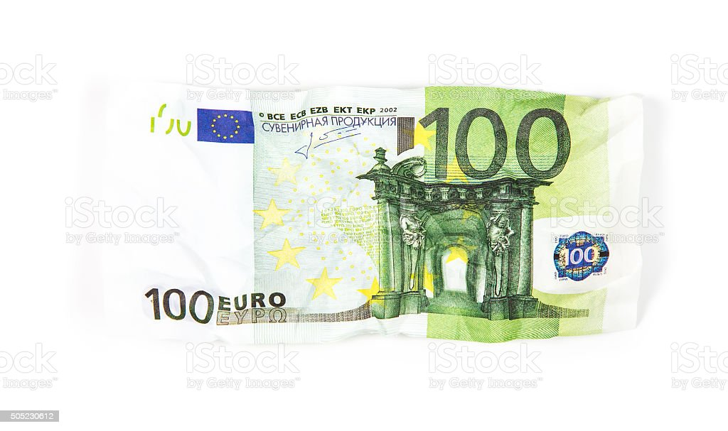 Crumpled banknote of hundred euro stock photo