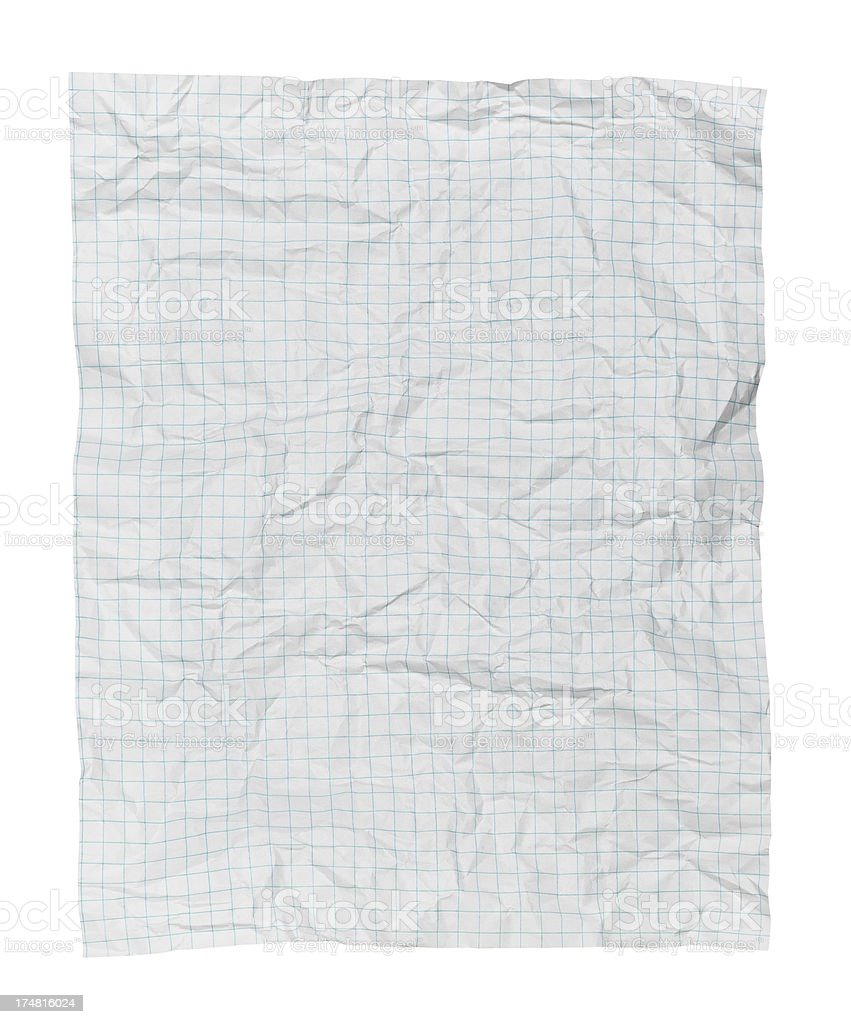 Crumpled blank white blue-grid graph paper royalty-free stock photo