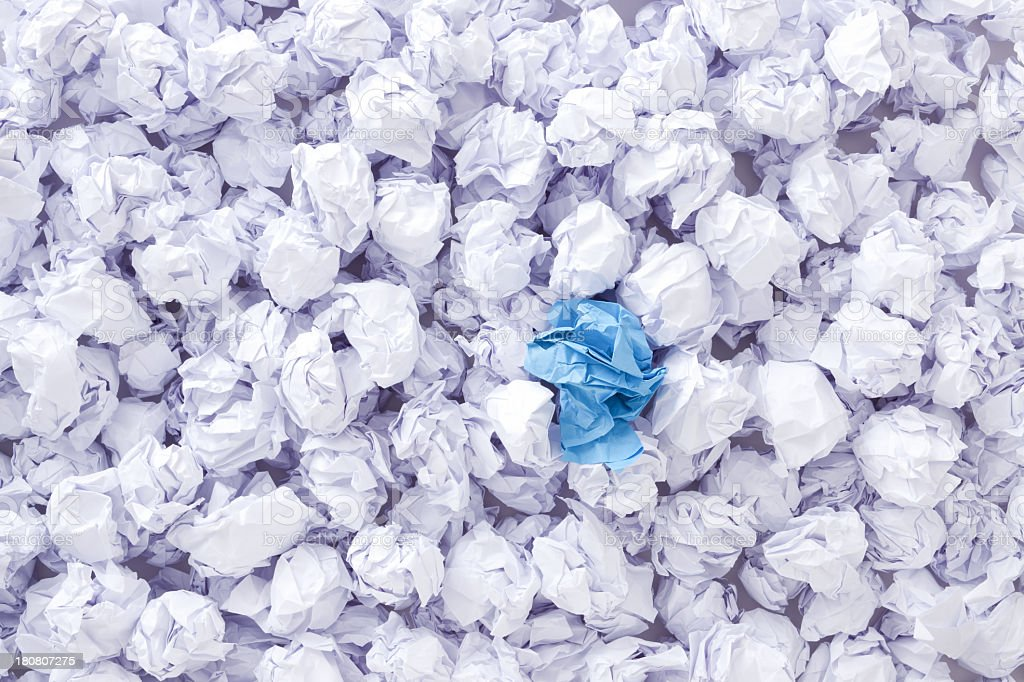 Crumpled blue paper royalty-free stock photo