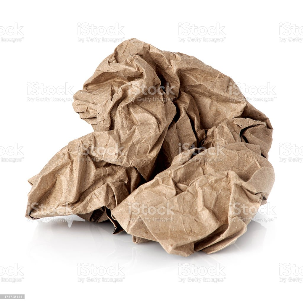 Crumpled brown paper ball royalty-free stock photo