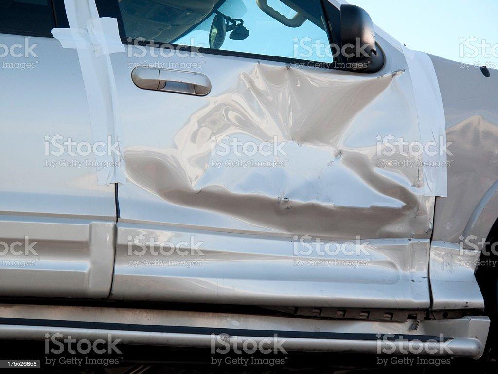 Crumpled Car Door stock photo