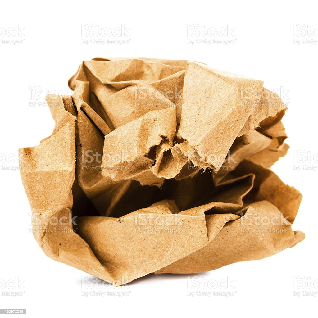 Crumpled colored  recycled paper ball isolated on white backgrou stock photo