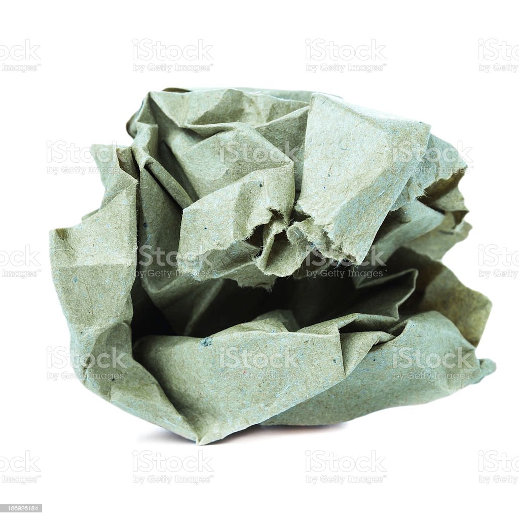 Crumpled colorful recycled paper ball isolated on white backgrou stock photo