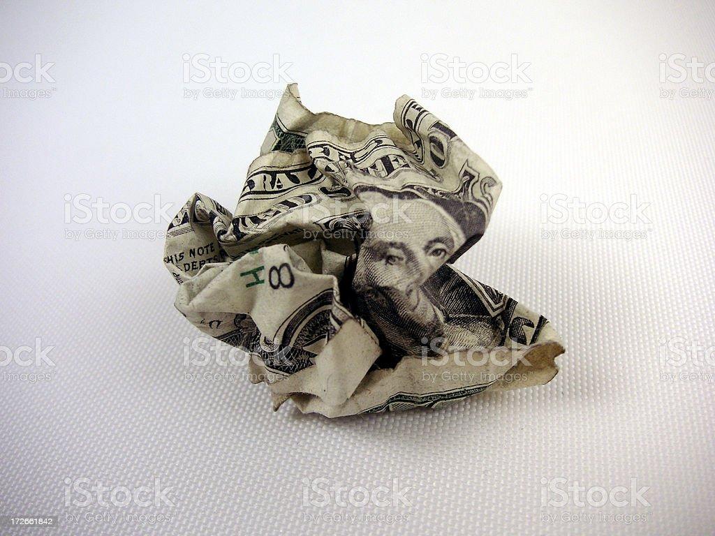 Crumpled Dollar 02 (white bg) royalty-free stock photo