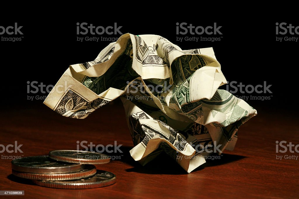 Crumpled Dollar and Change stock photo