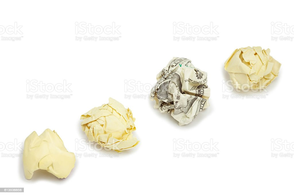 Crumpled dollar bill amount office paper on white stock photo