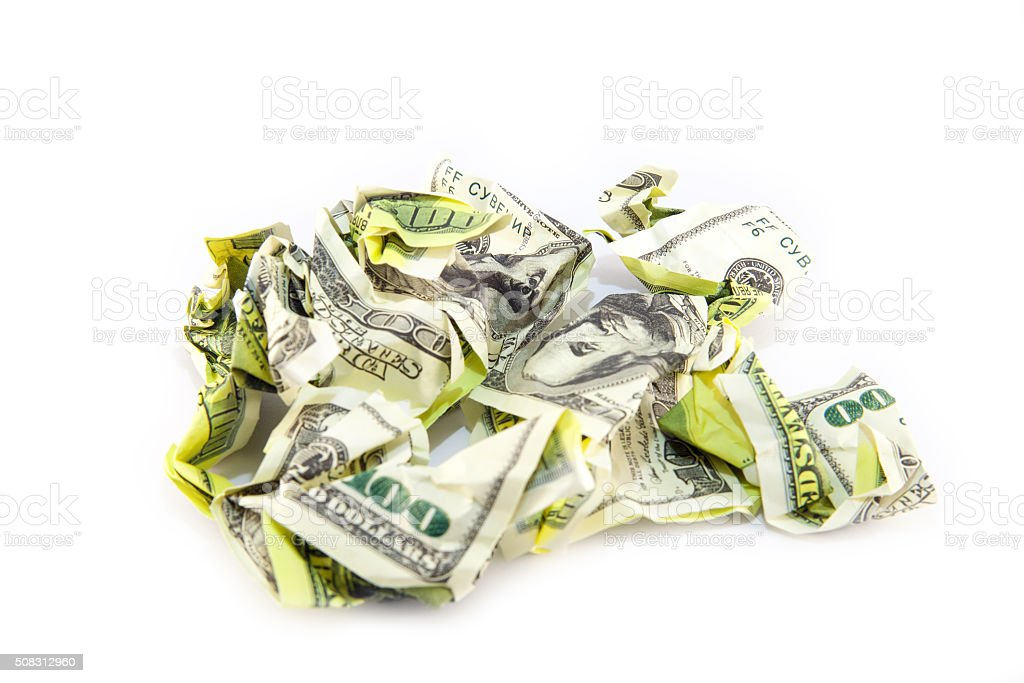 Crumpled dollar bill on a white background stock photo