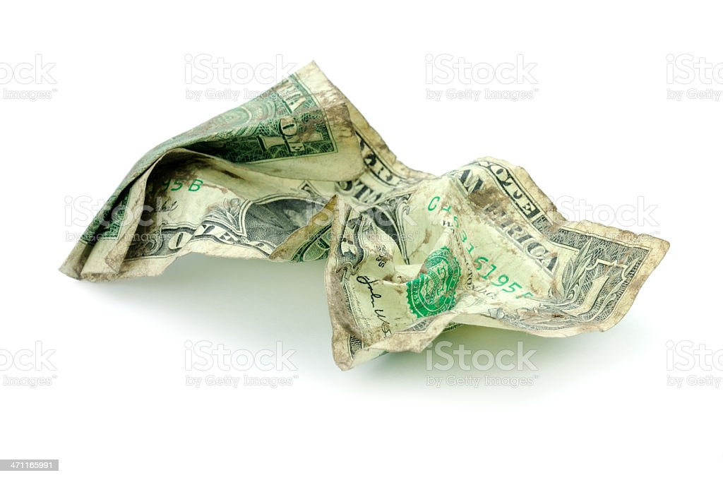 Crumpled dollar royalty-free stock photo