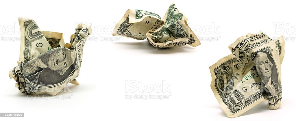 crumpled dollars royalty-free stock photo