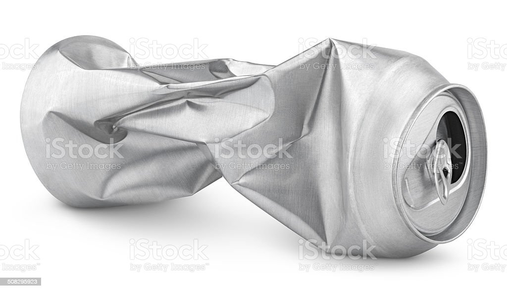 Crumpled empty soda or beer can isolated on white stock photo