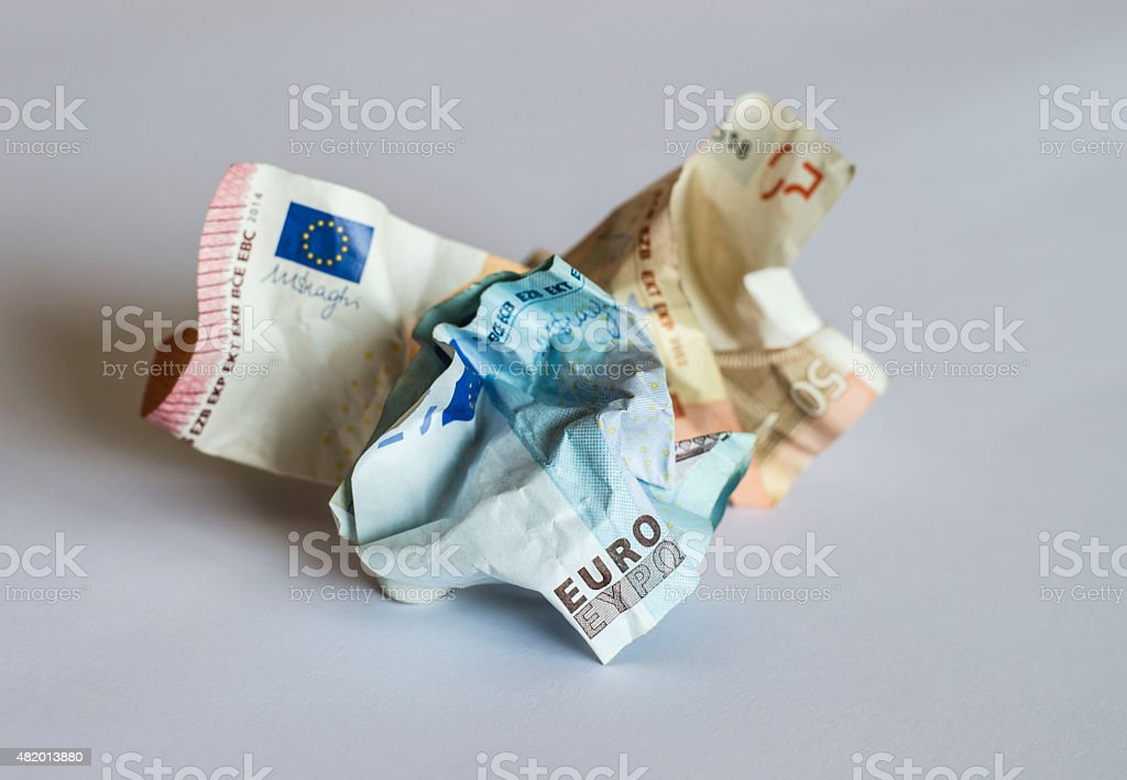 Crumpled Euro banknotes stock photo
