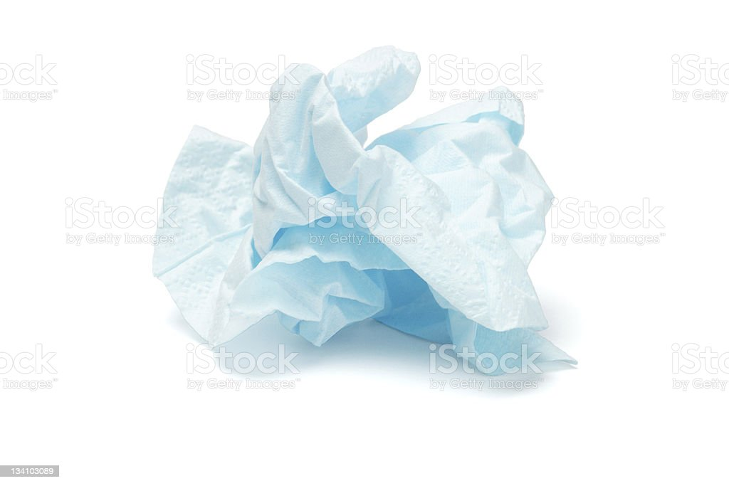 Crumpled facial tissue paper stock photo