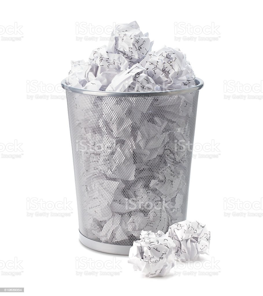 Crumpled, garbage, waste paper can recycle in office trash bin. stock photo