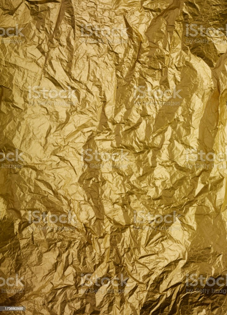 Crumpled Gold Paper royalty-free stock photo