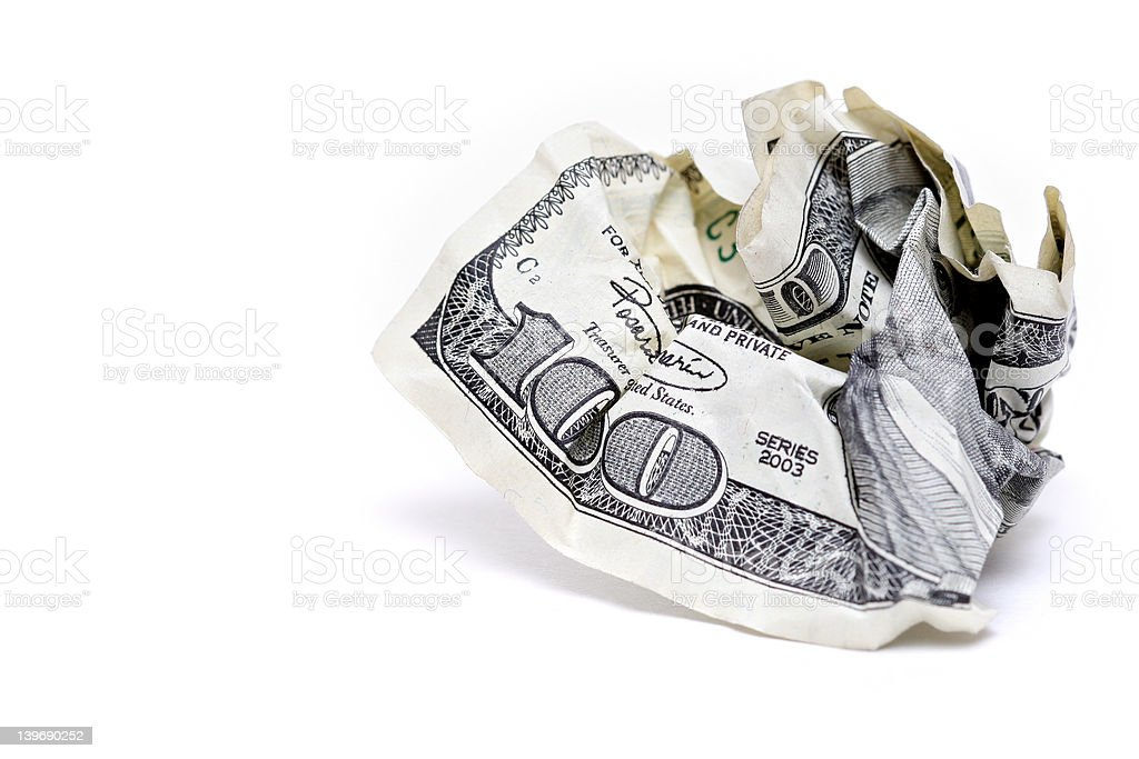 crumpled hundred dollar bill royalty-free stock photo