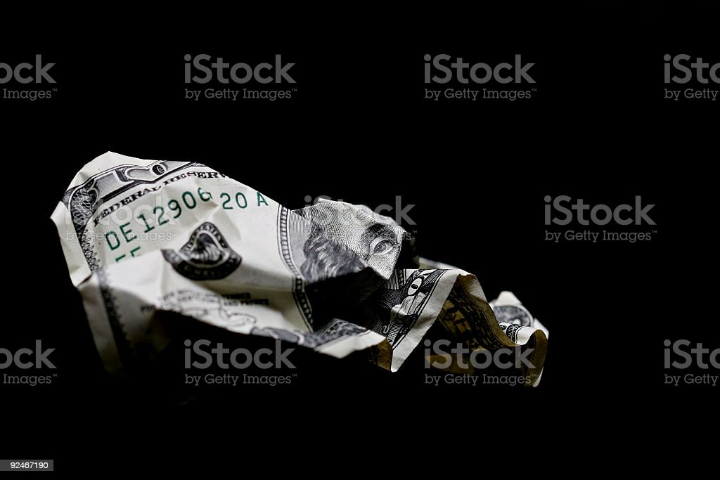 crumpled hundred dollar bill stock photo