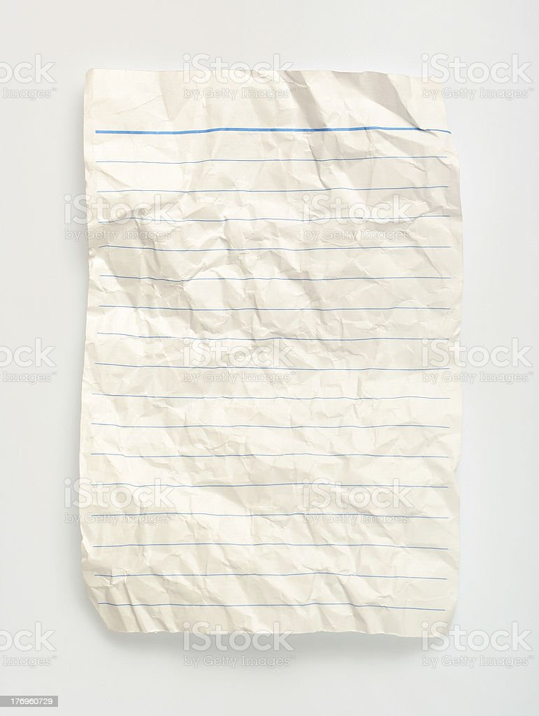 crumpled  line paper (with clipping path) royalty-free stock photo