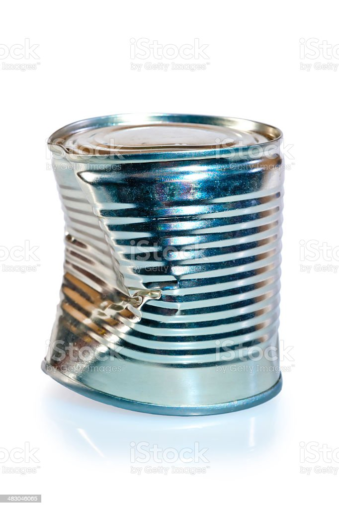 crumpled metal tin can on white background stock photo
