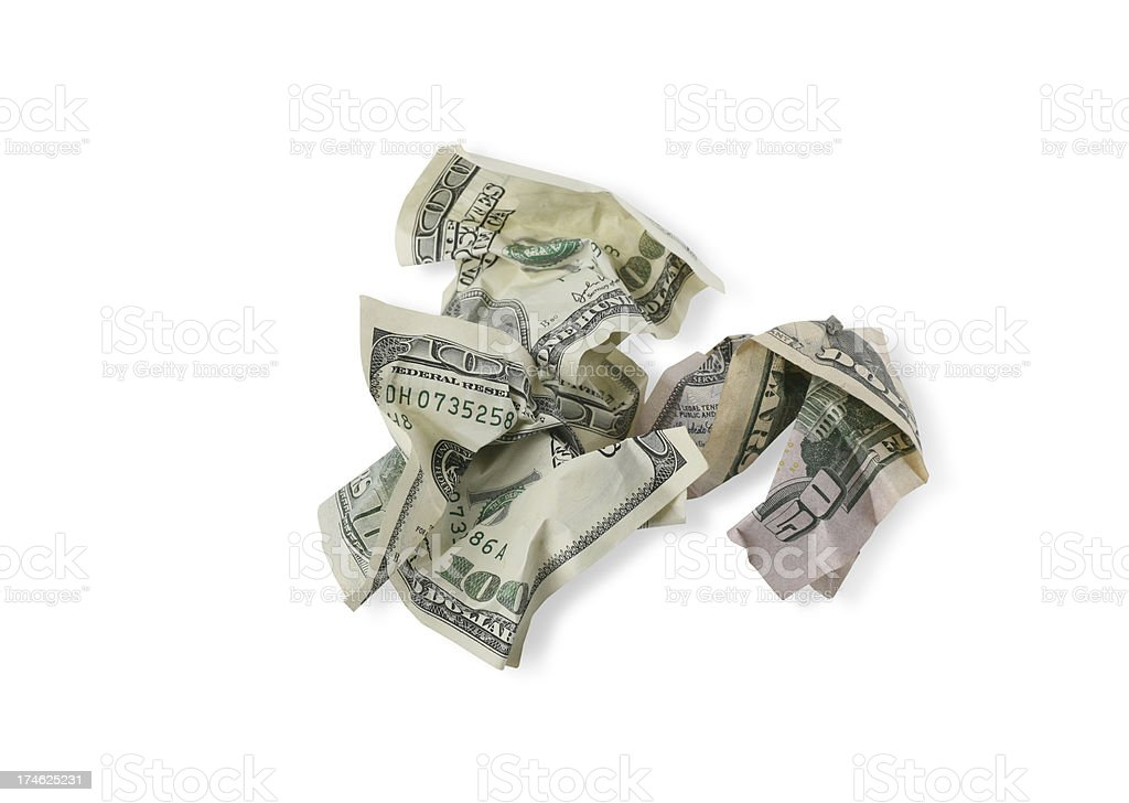 Crumpled Money with Clipping Path royalty-free stock photo