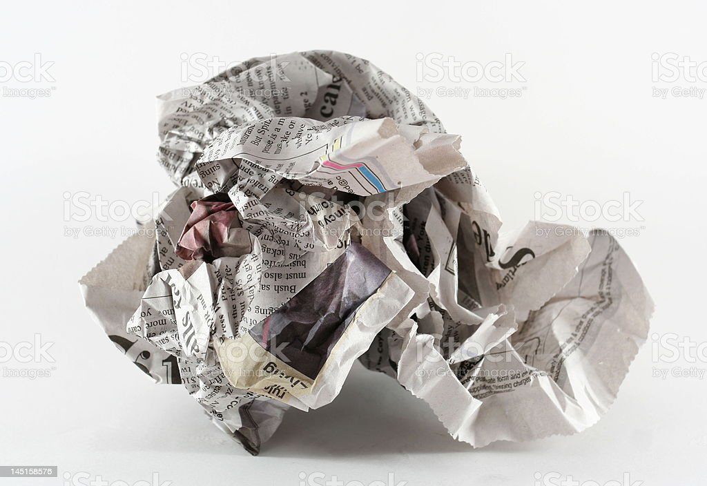 crumpled newspaper stock photo
