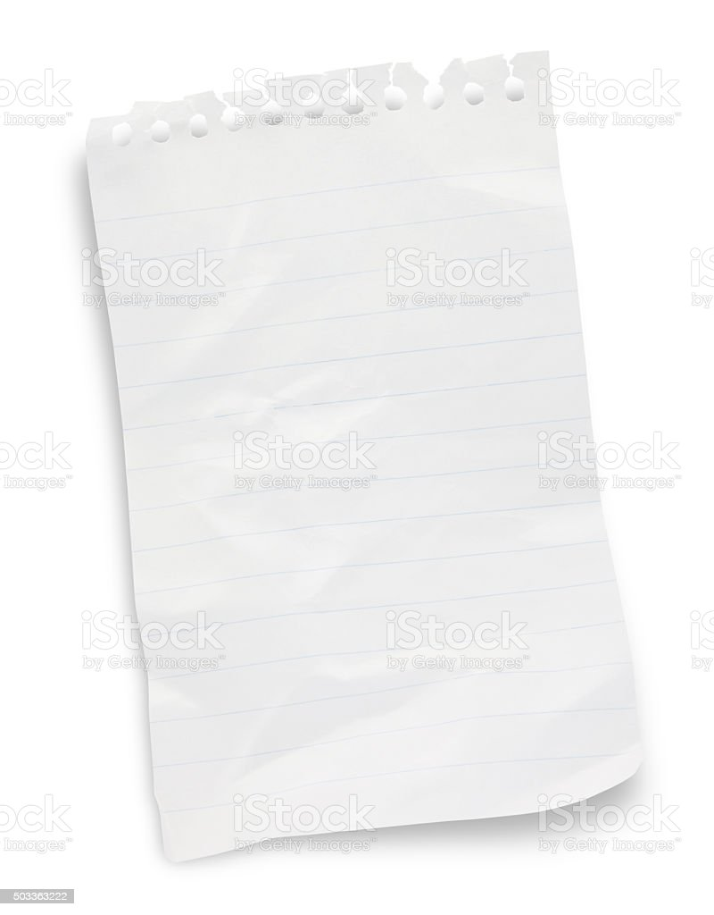 Crumpled Note pad page (with path) stock photo