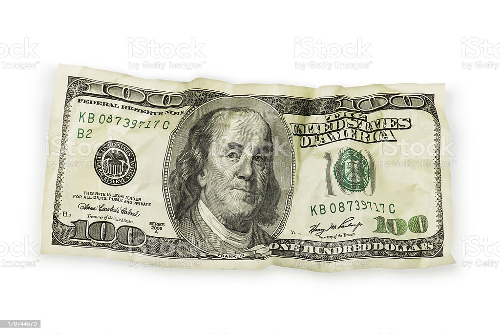 Crumpled One hundred dollar bill royalty-free stock photo