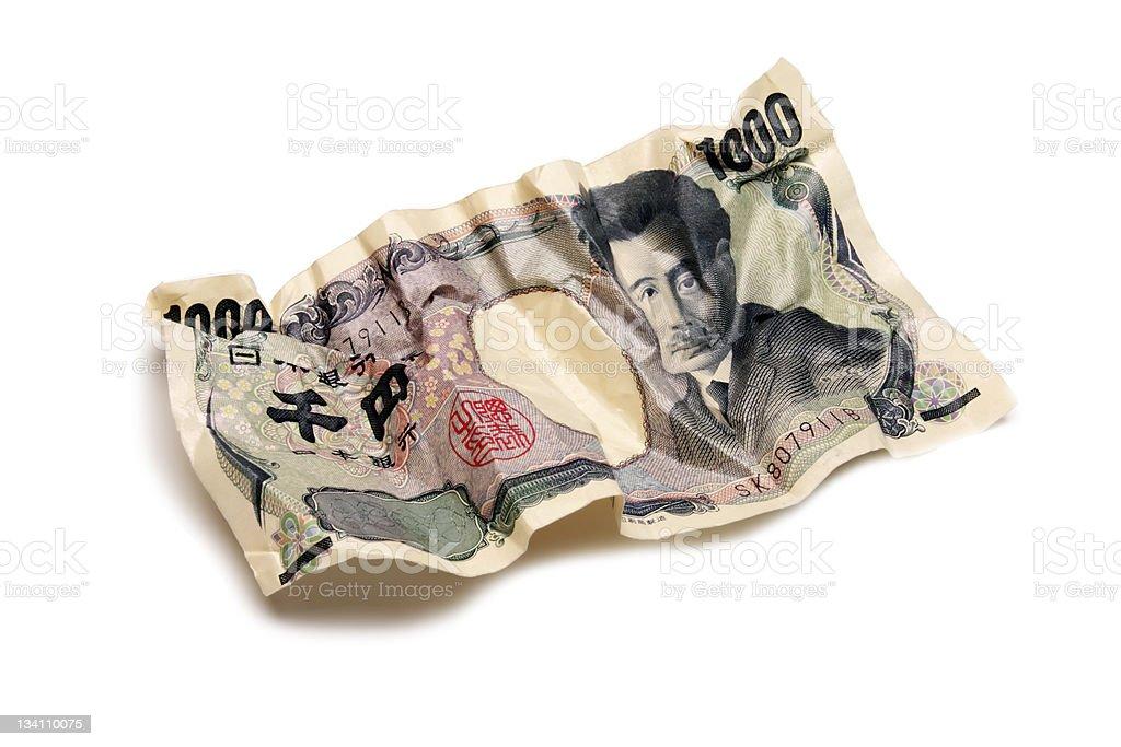 Faltig tausend Japanische yen Lizenzfreies stock-foto