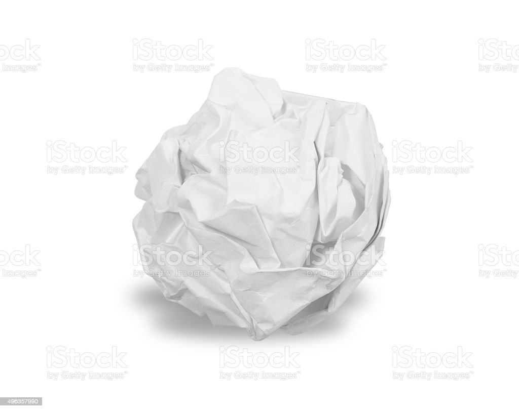 Crumpled paper ball isolated stock photo