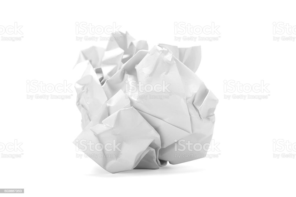 Crumpled paper ball stock photo