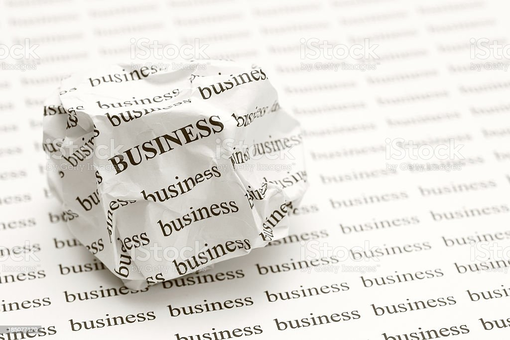 Crumpled paper ball with words business royalty-free stock photo