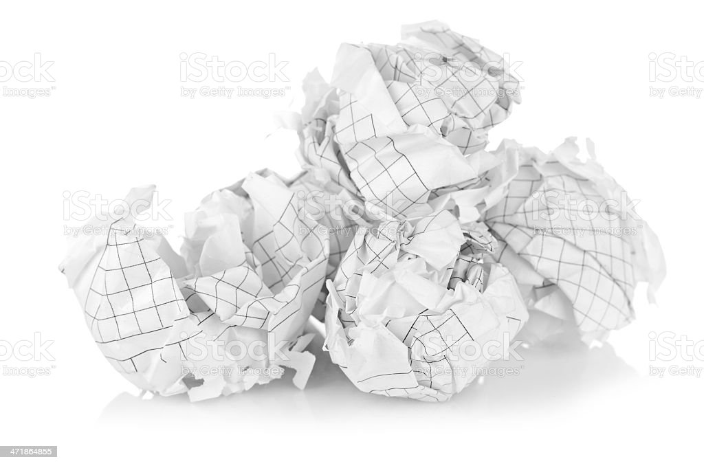 Crumpled paper balls royalty-free stock photo