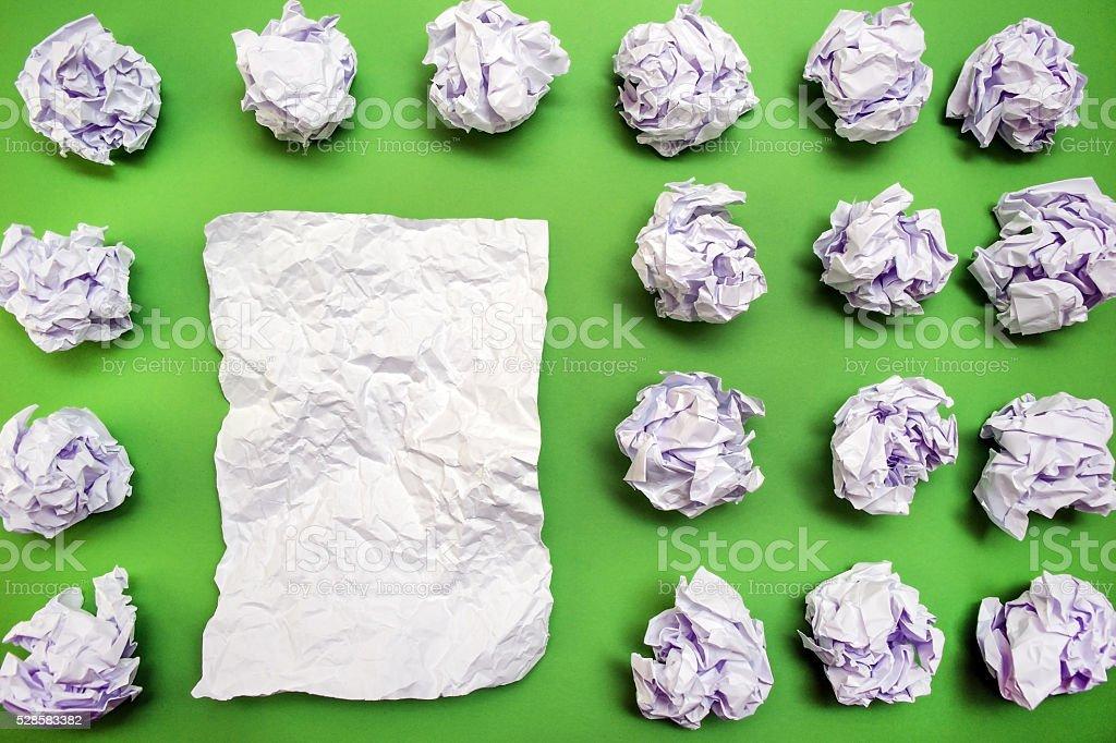 crumpled paper flat lay stock photo