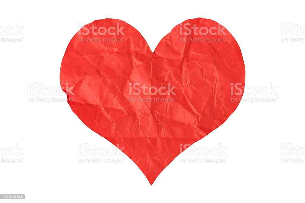 crumpled paper heart stock photo