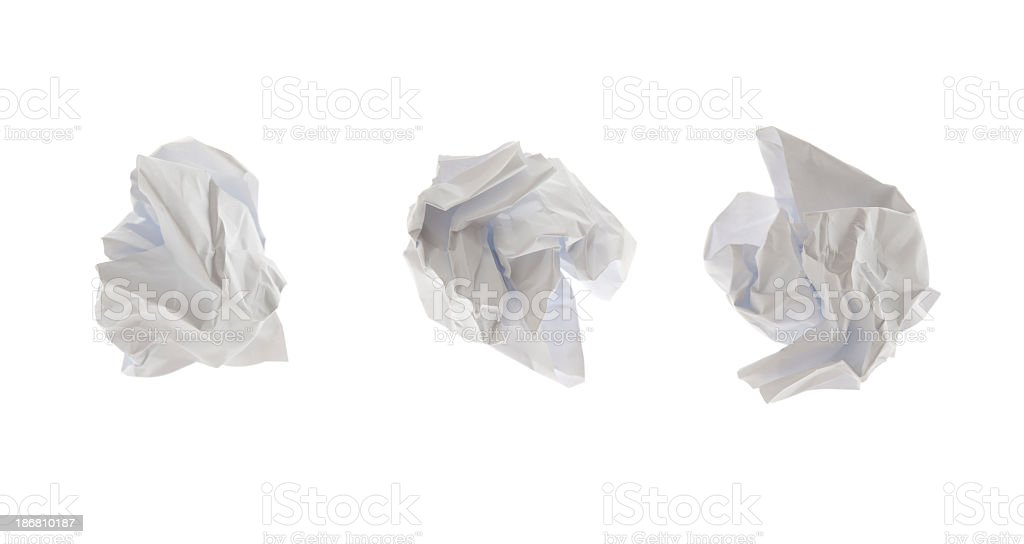 Crumpled paper, isolated on white stock photo