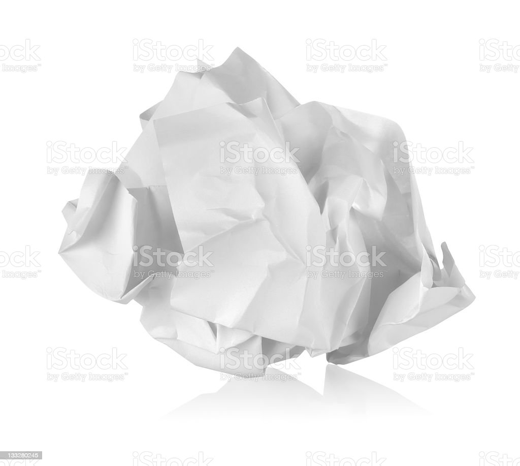 Crumpled paper isolated stock photo