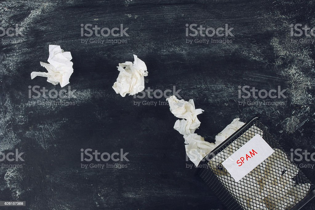 crumpled paper sheets , spam sign stock photo