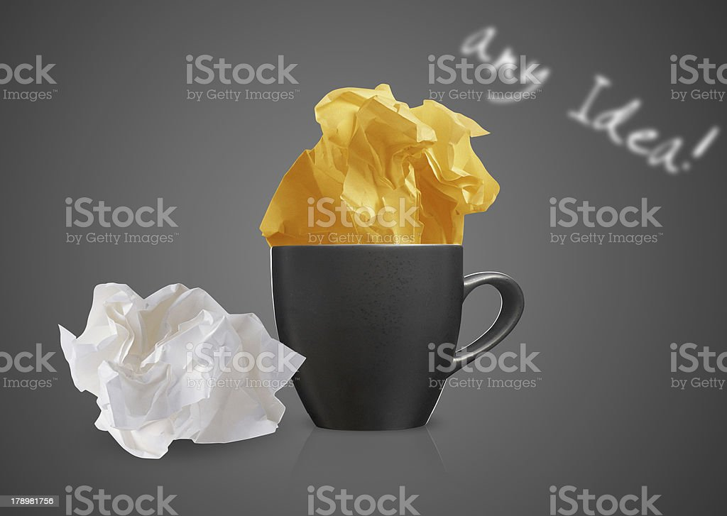 Crumpled papers and coffee royalty-free stock photo