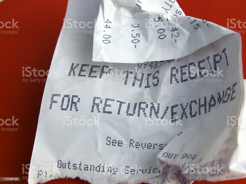 Crumpled Receipt stock photo
