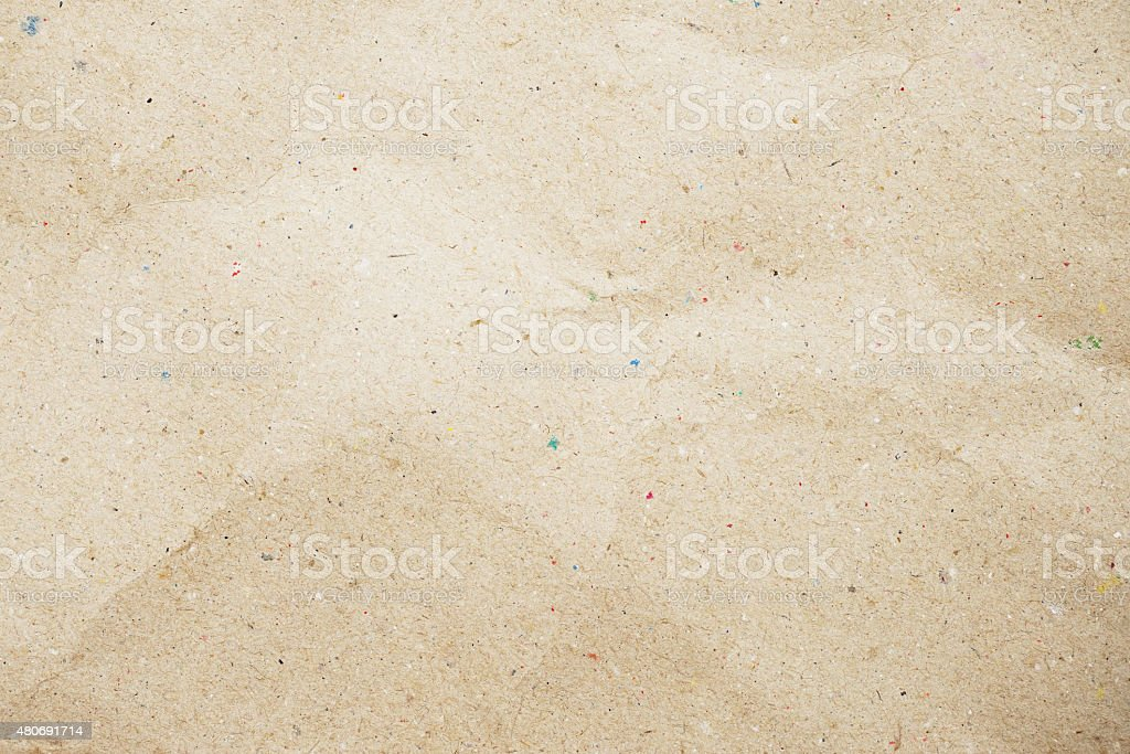 crumpled recycle paper texture - brown paper sheet stock photo