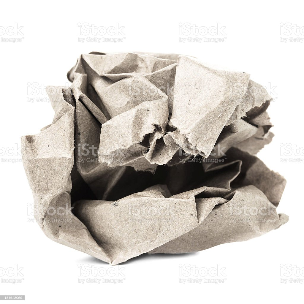 Crumpled recycled paper ball isolated on white background closeu stock photo