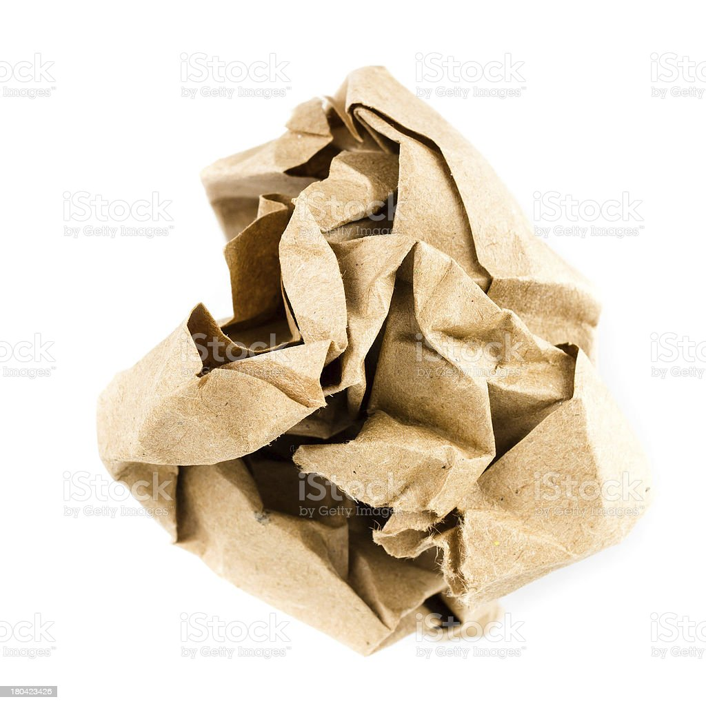 Crumpled recycled paper ball isolated on white background stock photo